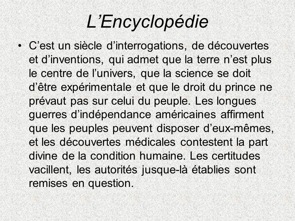 LEncyclopédie Cest un siècle dinterrogations, de découvertes et dinventions, qui admet que la terre nest plus le centre de lunivers, que la science se