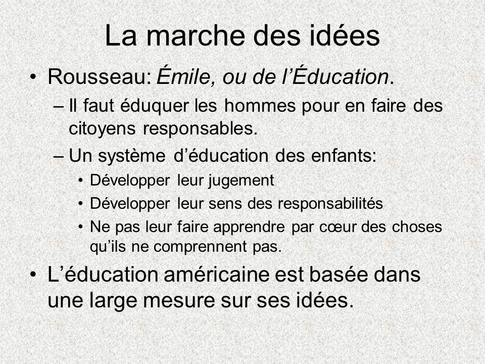 La marche des idées Rousseau: Émile, ou de lÉducation. –Il faut éduquer les hommes pour en faire des citoyens responsables. –Un système déducation des