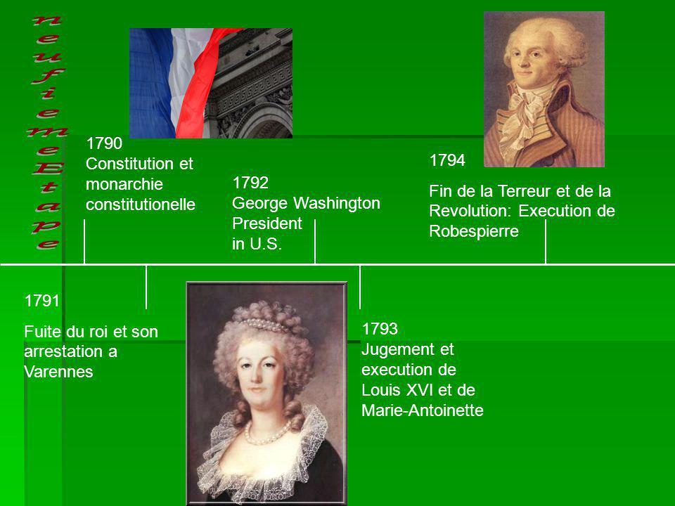 1791 Fuite du roi et son arrestation a Varennes 1794 Fin de la Terreur et de la Revolution: Execution de Robespierre 1790 Constitution et monarchie co