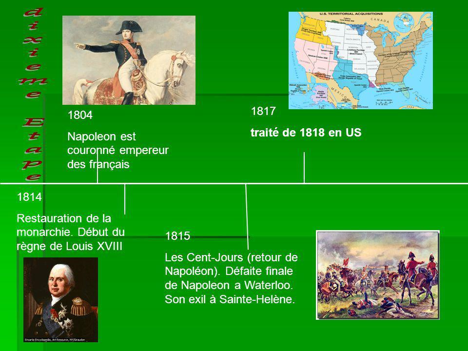 1814 Restauration de la monarchie. Début du règne de Louis XVIII 1804 Napoleon est couronné empereur des français 1815 Les Cent-Jours (retour de Napol