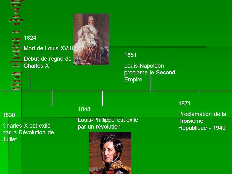 1830 Charles X est exilé par la Révolution de Juillet 1824 Mort de Louis XVIII Début de règne de Charles X 1848 Louis-Phillippe est exilé par un révol