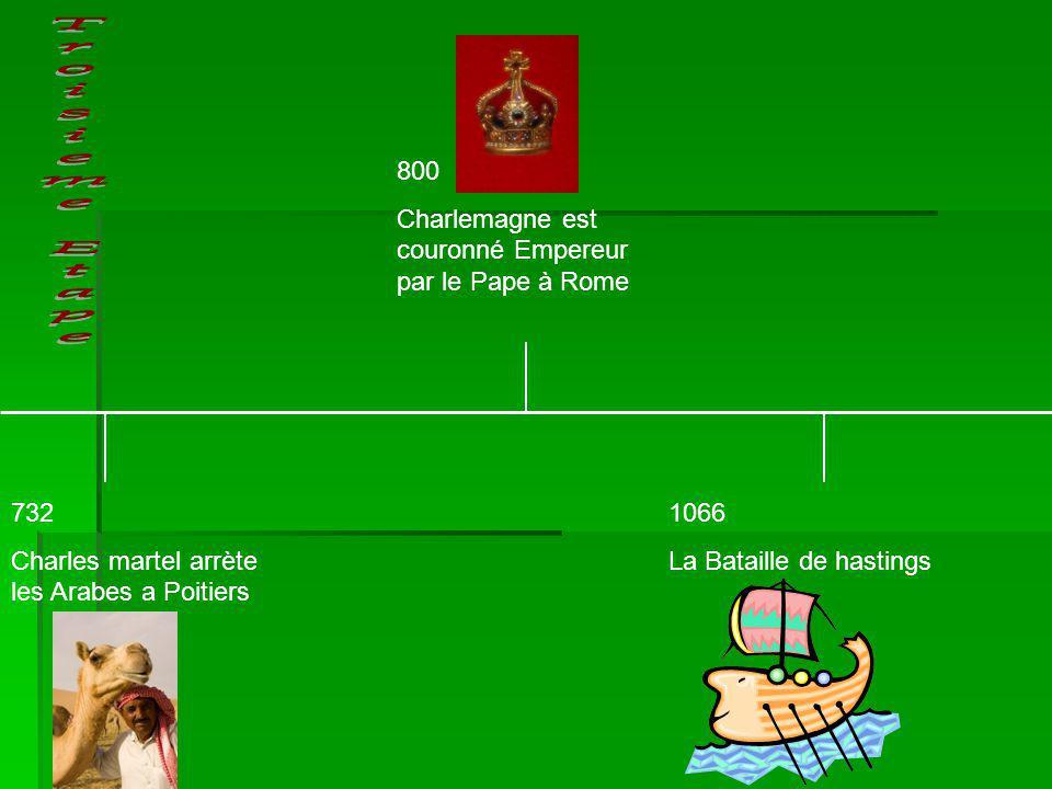 732 Charles martel arrète les Arabes a Poitiers 1066 La Bataille de hastings 800 Charlemagne est couronné Empereur par le Pape à Rome