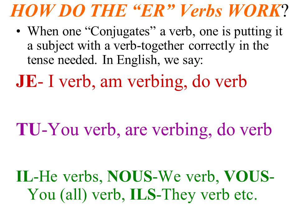 HOW DO THE ER Verbs WORK? When one Conjugates a verb, one is putting it a subject with a verb-together correctly in the tense needed. In English, we s