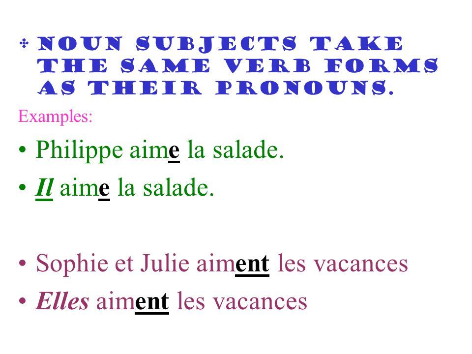 Noun subjects take the same verb forms as their pronouns. Examples: Philippe aime la salade. Il aime la salade. Sophie et Julie aiment les vacances El