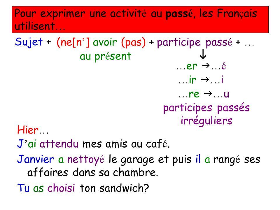 Pour exprimer une activit é au pass é, les Fran ç ais utilisent … Sujet +(ne[n ] avoir (pas) + au pr é sent participe pass é + … … er …é … ir … i … re