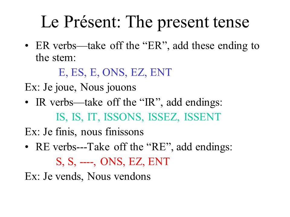 Le Passé Composé: The PAST TENSE (the perfect tense) This tense is used to describe a single completed action in the past.