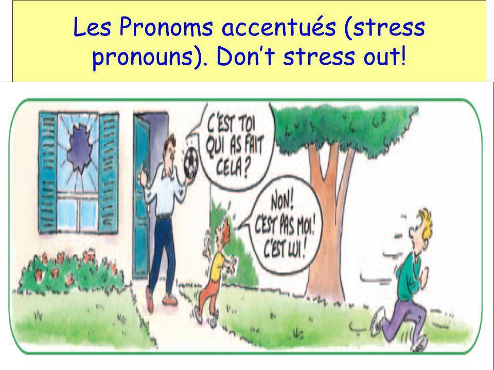 F 1-Vocabulaire des pronoms… je(j) tu il elle nous vous ils elles moi (me) toi (you) lui (him) elle (her) nous (us) vous (you) eux (them)[males/mixed] elles (them)[females]