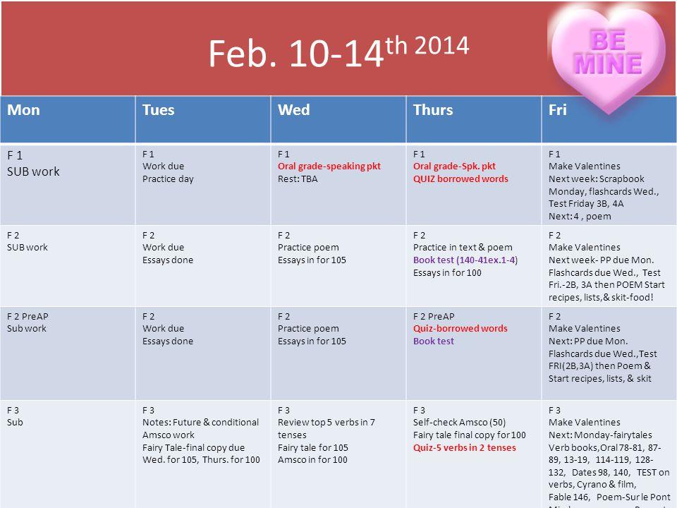 Feb. 10-14 th 2014 MonTuesWedThursFri F 1 SUB work F 1 Work due Practice day F 1 Oral grade-speaking pkt Rest: TBA F 1 Oral grade-Spk. pkt QUIZ borrow