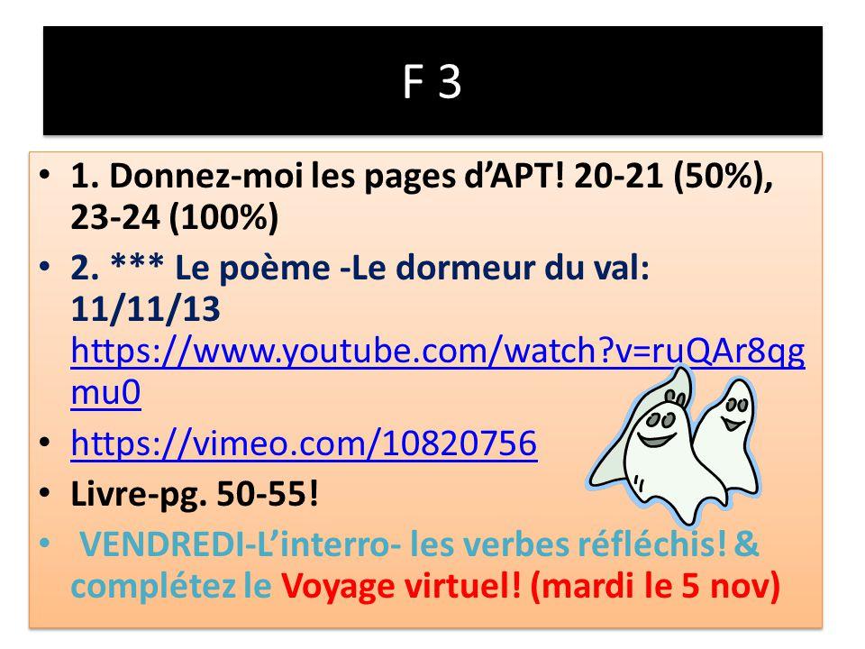 F 3 1. Donnez-moi les pages dAPT. 20-21 (50%), 23-24 (100%) 2.