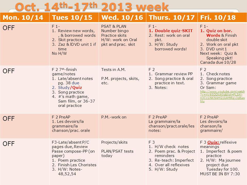 Major/DD grade dates: F 1F 2F 3 Thur/Fri.10/17-18-SkitMon.