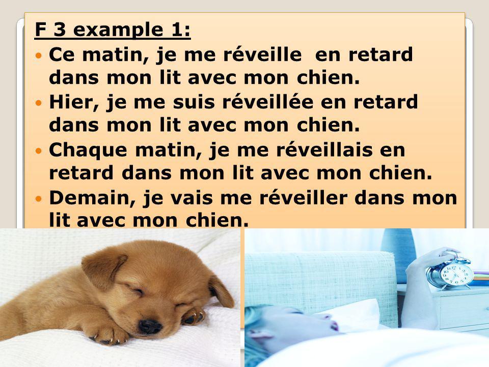 F 3 example 1: Ce matin, je me réveille en retard dans mon lit avec mon chien.