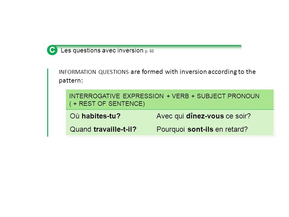 C Les questions avec inversion p.