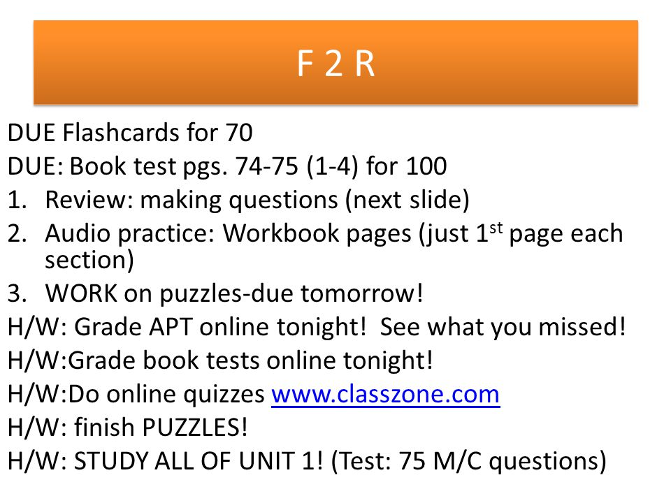 F 2 R DUE Flashcards for 70 DUE: Book test pgs.