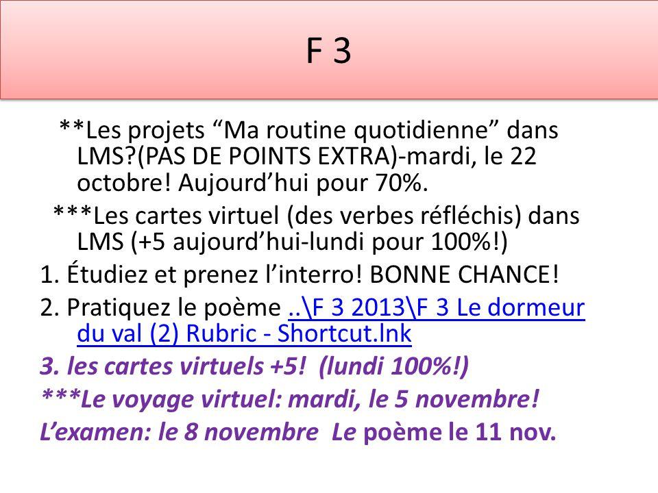 F 3 **Les projets Ma routine quotidienne dans LMS?(PAS DE POINTS EXTRA)-mardi, le 22 octobre! Aujourdhui pour 70%. ***Les cartes virtuel (des verbes r