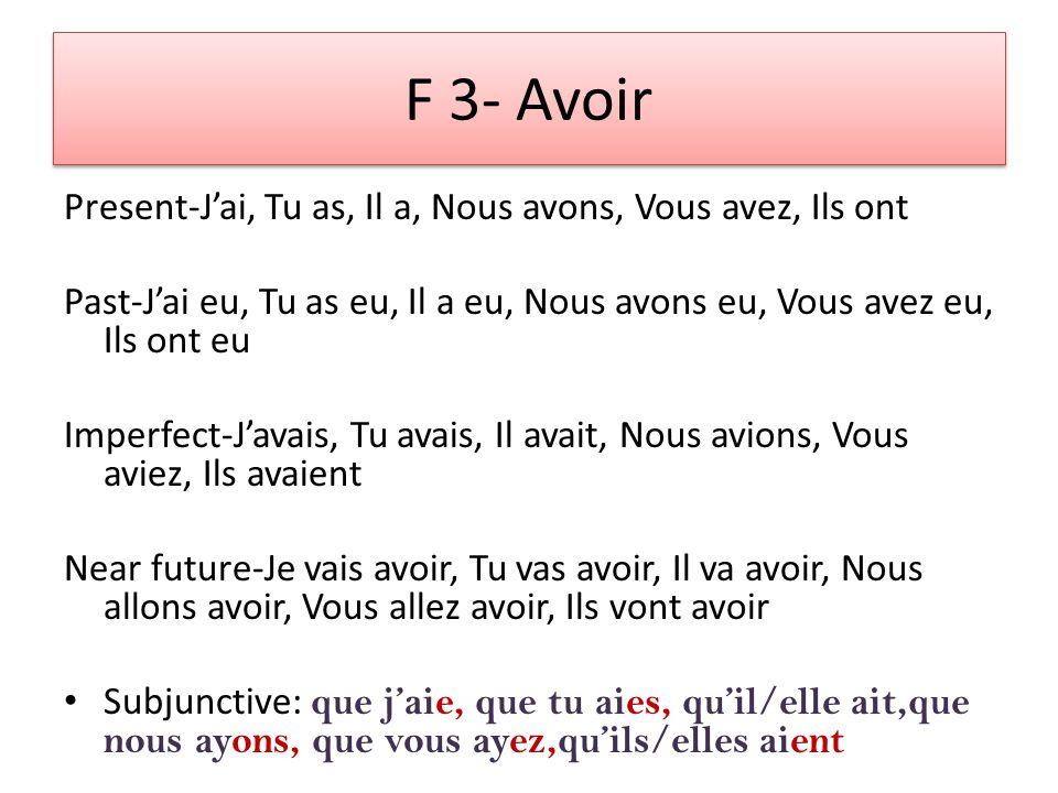 Parler Avoir (jai, tu as, il a, nous avons, vous avez, ils ont) + PP é Jai parl é Finir Avoir + PP i Jai fini Vendre Avoir + PP u Jai vendu F 2 La formation du passé composé I verbed, have verbed, did verb.