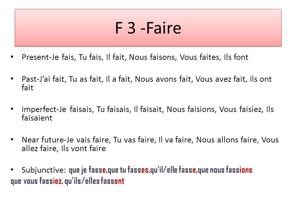 F 1 makeup quiz 1-6.Conjugate FAIRE. Je, Tu, Il, Nous, Vous, Ils 7-12.