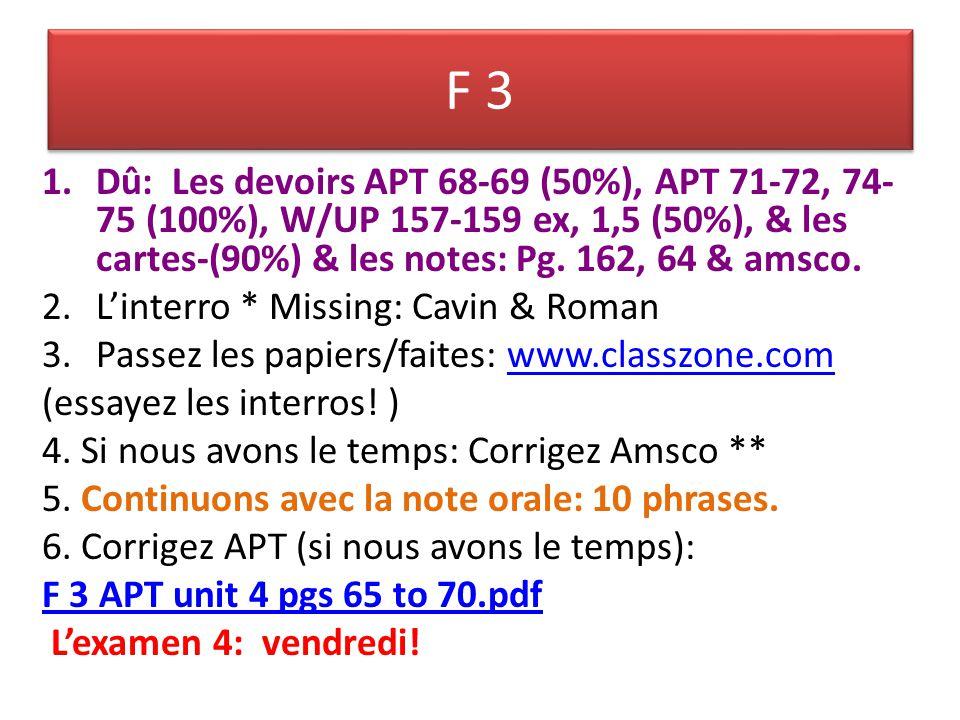 F 3 1.Dû: Les devoirs APT 68-69 (50%), APT 71-72, 74- 75 (100%), W/UP 157-159 ex, 1,5 (50%), & les cartes-(90%) & les notes: Pg.