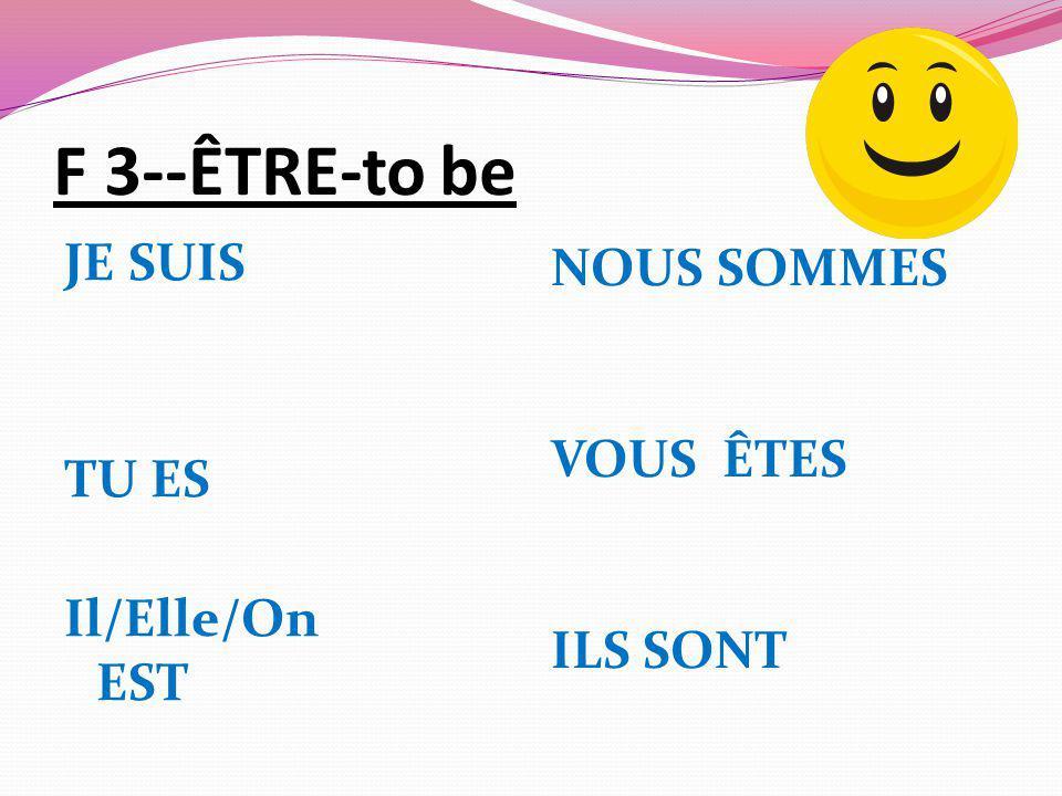 F 3--ÊTRE-to be JE SUIS TU ES Il/Elle/On EST NOUS SOMMES VOUS ÊTES ILS SONT