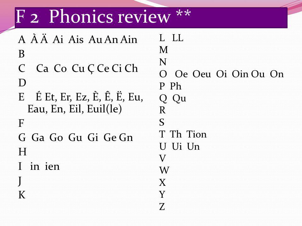 F 2 Phonics review ** A À Ä Ai Ais Au An Ain B C Ca Co Cu Ç Ce Ci Ch D E É Et, Er, Ez, È, Ê, Ë, Eu, Eau, En, Eil, Euil(le) F G Ga Go Gu Gi Ge Gn H I in ien J K L LL M N O Oe Oeu Oi Oin Ou On P Ph Q Qu R S T Th Tion U Ui Un V W X Y Z