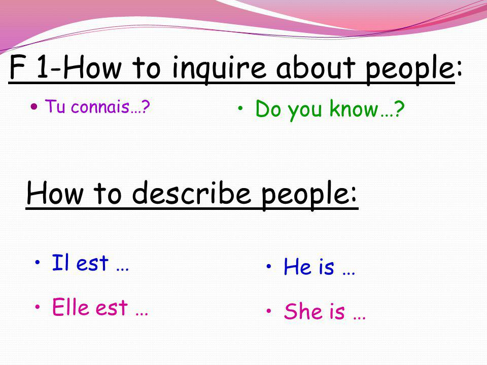 F 1-How to inquire about people: Tu connais….Do you know….
