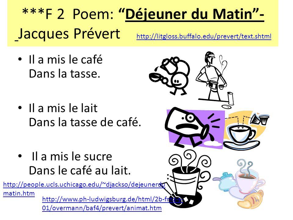 ***F 2 Poem: Déjeuner du Matin- Jacques Prévert http://litgloss.buffalo.edu/prevert/text.shtml http://litgloss.buffalo.edu/prevert/text.shtml Il a mis