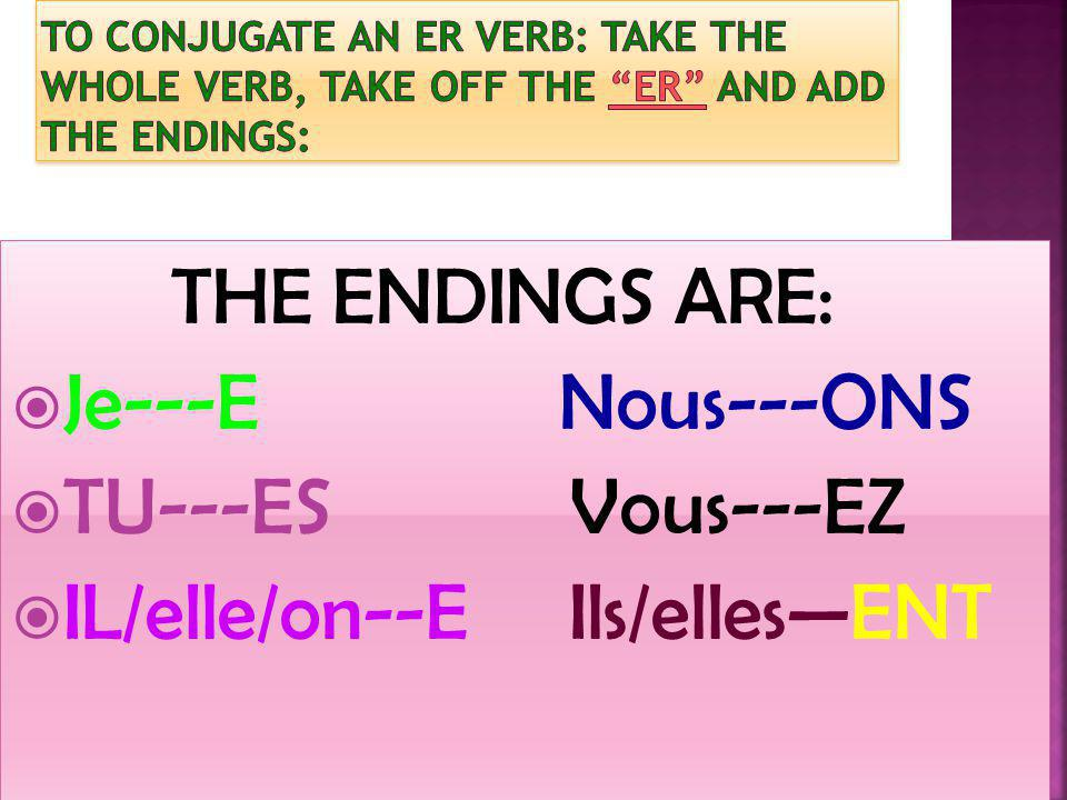 THE ENDINGS ARE: Je---E Nous---ONS TU---ES Vous---EZ IL/elle/on--E Ils/ellesENT THE ENDINGS ARE: Je---E Nous---ONS TU---ES Vous---EZ IL/elle/on--E Ils