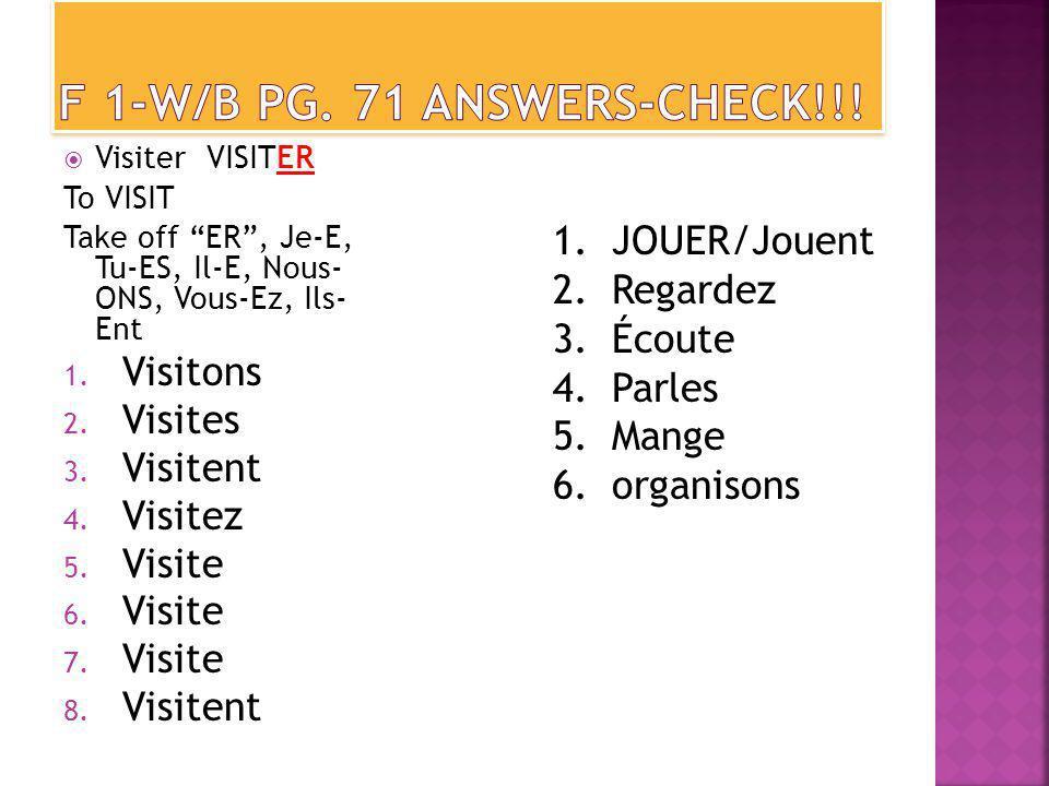 Visiter VISITER To VISIT Take off ER, Je-E, Tu-ES, Il-E, Nous- ONS, Vous-Ez, Ils- Ent 1.