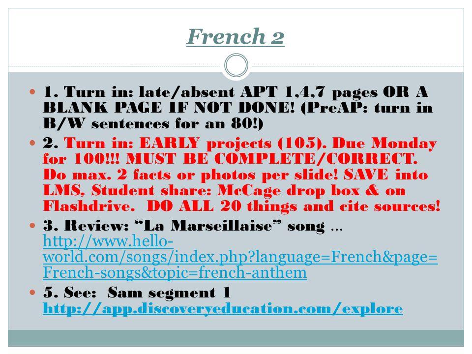 Le français 3 1.QUIZ: les verbes. Cavin: acrostic 2.