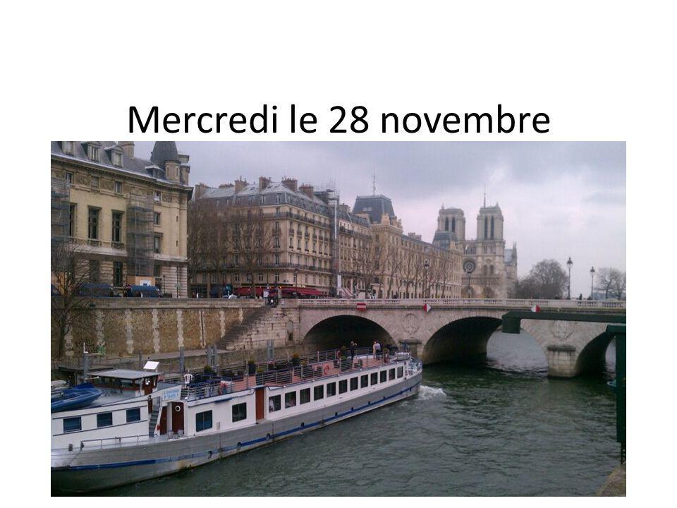 Mercredi le 28 novembre