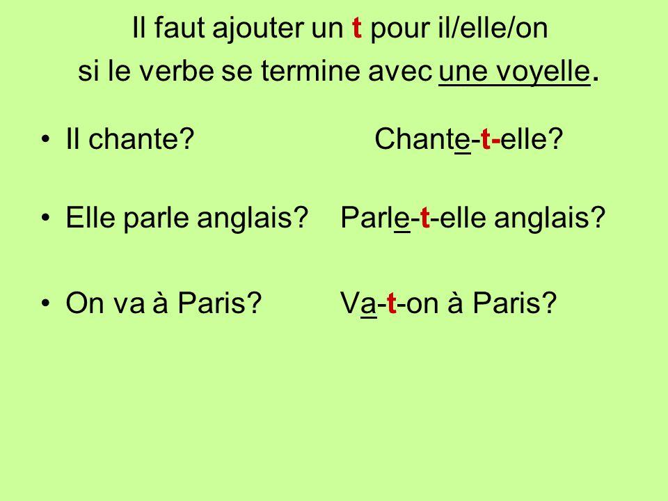 Il faut ajouter un t pour il/elle/on si le verbe se termine avec une voyelle. Il chante?Chante-t-elle? Elle parle anglais? Parle-t-elle anglais? On va