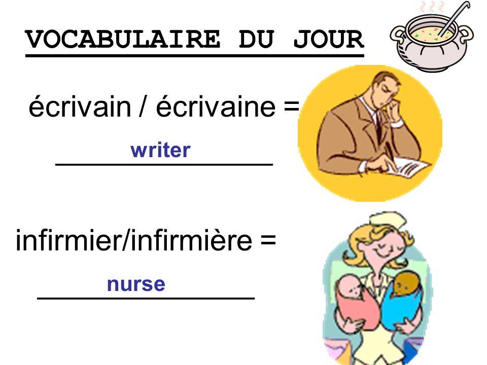 VOCABULAIRE DU JOUR écrivain / écrivaine = _____________ writer infirmier/infirmière = _____________ nurse