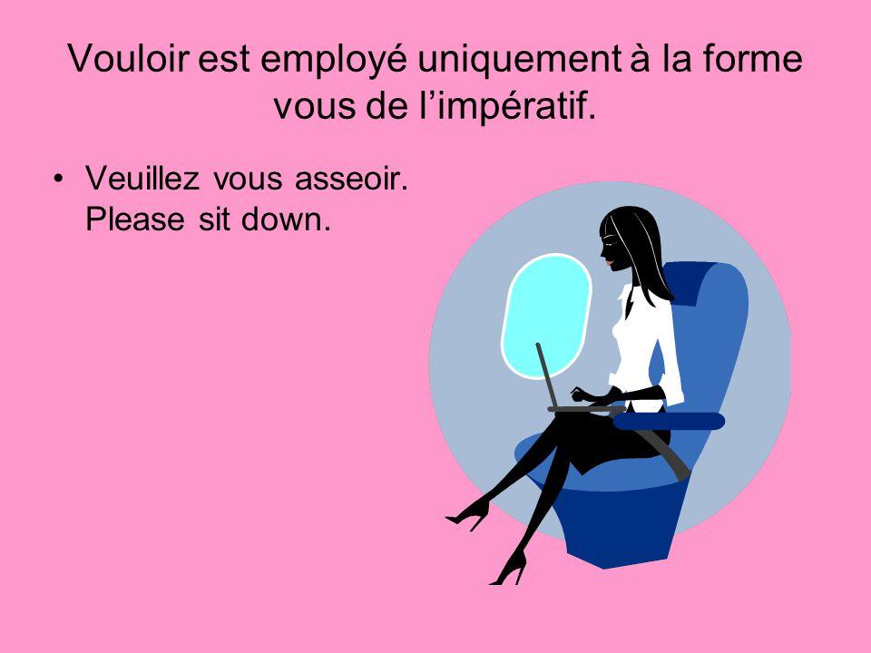 Vouloir est employé uniquement à la forme vous de limpératif. Veuillez vous asseoir. Please sit down.