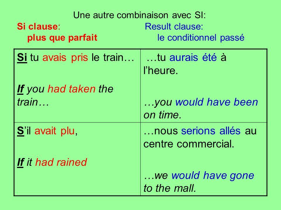 Une autre combinaison avec SI: Si clause: Result clause: plus que parfait le conditionnel passé Si tu avais pris le train… If you had taken the train…