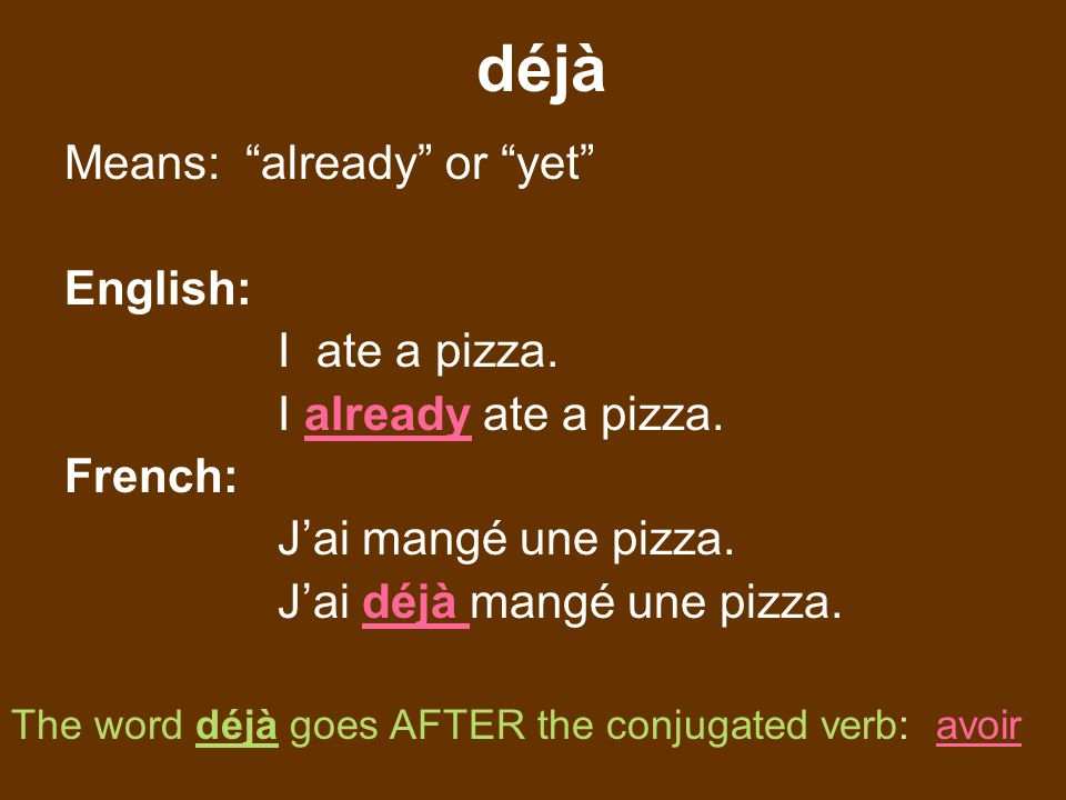 déjà Means: already or yet English: I ate a pizza.