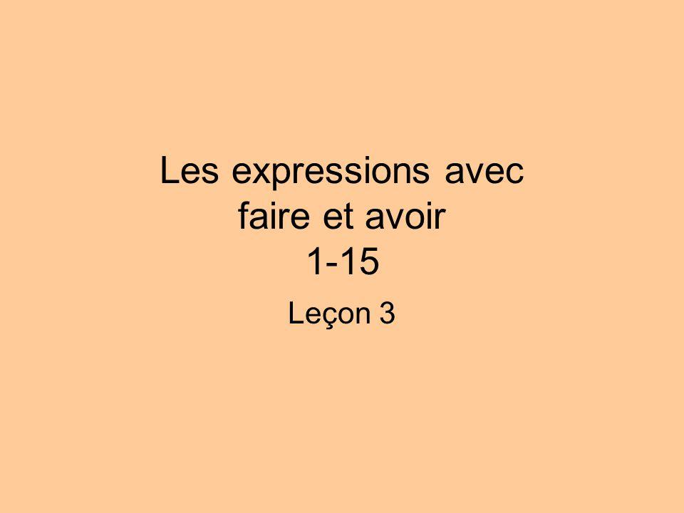 Les expressions avec faire et avoir 1-15 Leçon 3