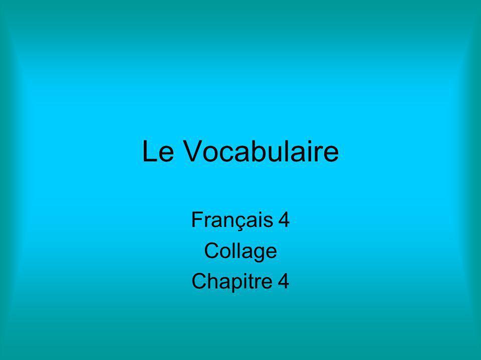 Le Vocabulaire Français 4 Collage Chapitre 4