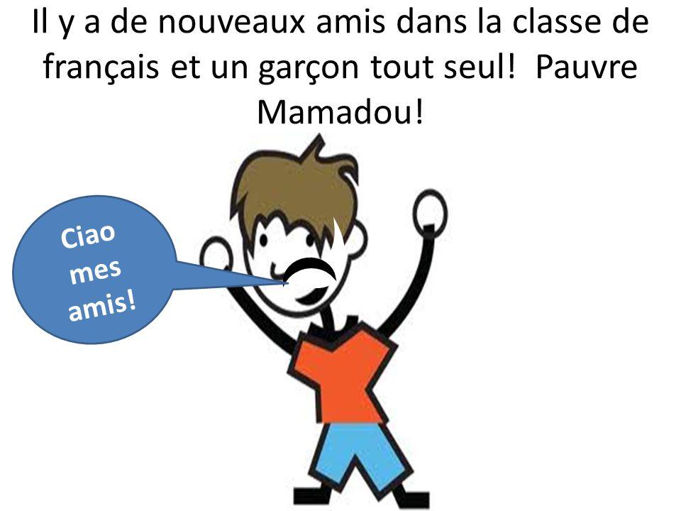 Ciao mes amis. Il y a de nouveaux amis dans la classe de français et un garçon tout seul.