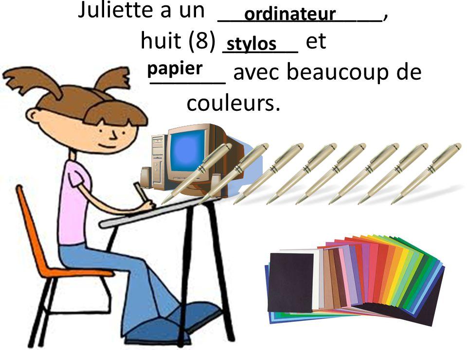 Juliette a un _____________, huit (8) ______ et ______ avec beaucoup de couleurs.