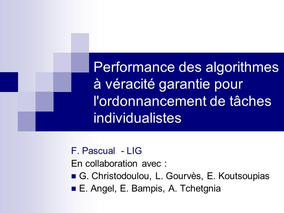 32 MAO - 25/01/2007 Modèle souple, algorithme déterministe, borne inférieure (1) Hyp : algorithme à véracité garantie de rapport dapproximation 11/10 – ε 2 machines et 5 tâches de longueurs {5,4,3,3,3}