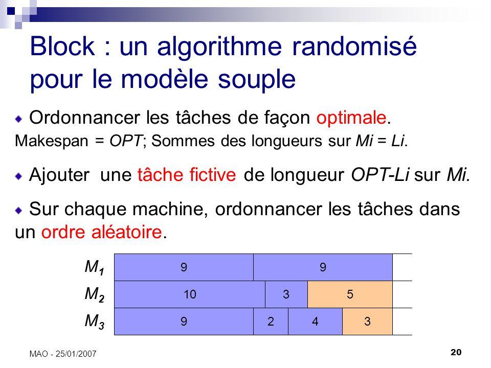 20 MAO - 25/01/2007 Block : un algorithme randomisé pour le modèle souple Ordonnancer les tâches de façon optimale.