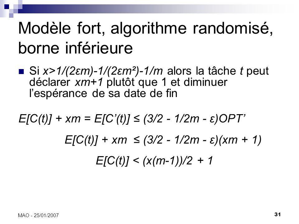 31 MAO - 25/01/2007 Modèle fort, algorithme randomisé, borne inférieure Si x>1/(2εm)-1/(2εm²)-1/m alors la tâche t peut déclarer xm+1 plutôt que 1 et diminuer lespérance de sa date de fin E[C(t)] + xm = E[C(t)] (3/2 - 1/2m - ε)OPT E[C(t)] + xm (3/2 - 1/2m - ε)(xm + 1) E[C(t)] < (x(m-1))/2 + 1