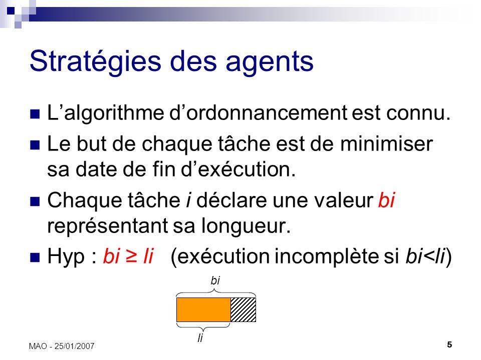 5 MAO - 25/01/2007 Stratégies des agents Lalgorithme dordonnancement est connu.