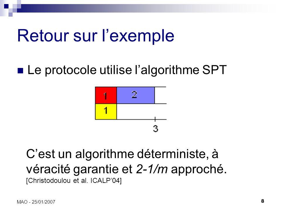 9 MAO - 25/01/2007 Objectif Borner la performance dun protocole (algorithme) à véracité garantie dans divers contextes Déterministe ou randomisé Modèle dexécution fort ou souple Pas de paiements