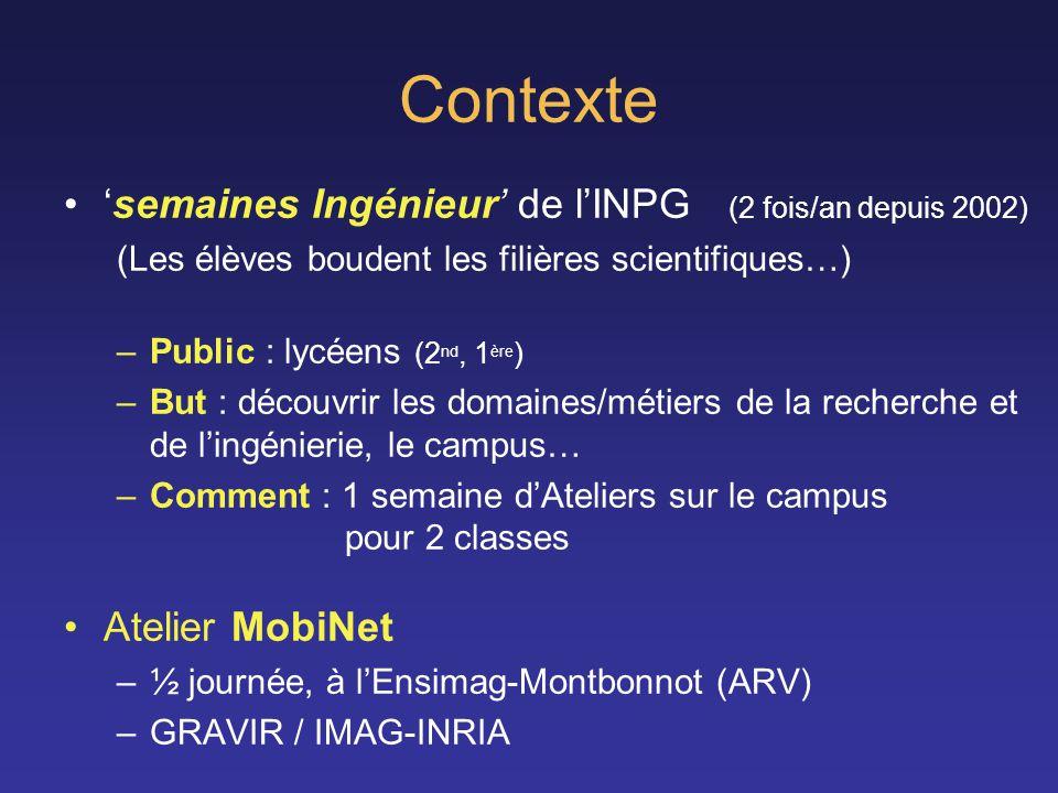 Contexte semaines Ingénieur de lINPG (2 fois/an depuis 2002) (Les élèves boudent les filières scientifiques…) –Public : lycéens (2 nd, 1 ère ) –But :