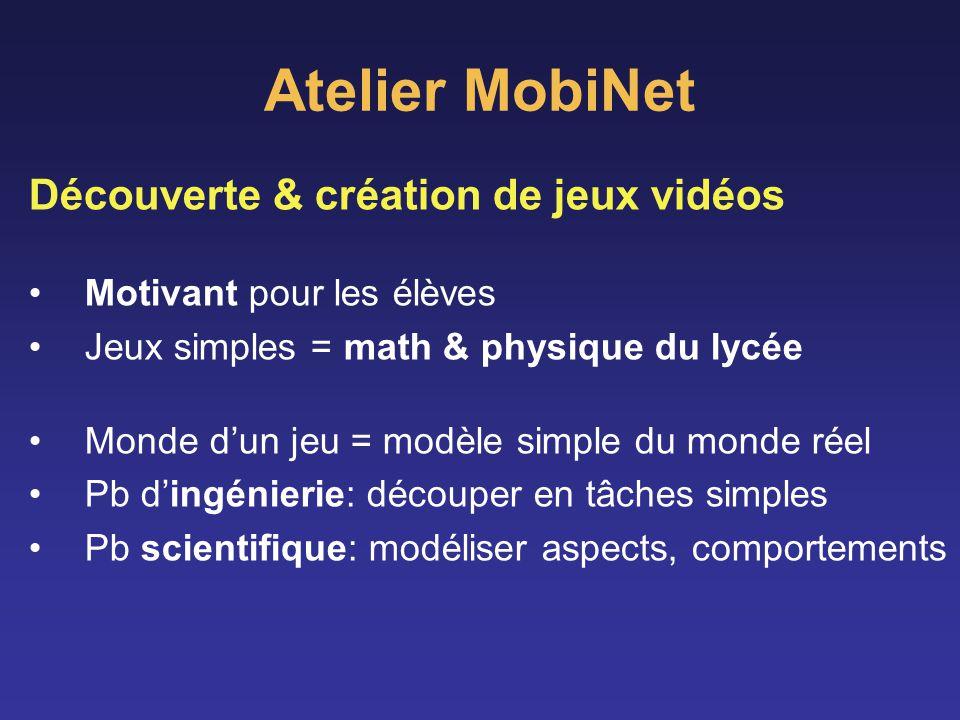 Atelier MobiNet Découverte & création de jeux vidéos Motivant pour les élèves Jeux simples = math & physique du lycée Monde dun jeu = modèle simple du