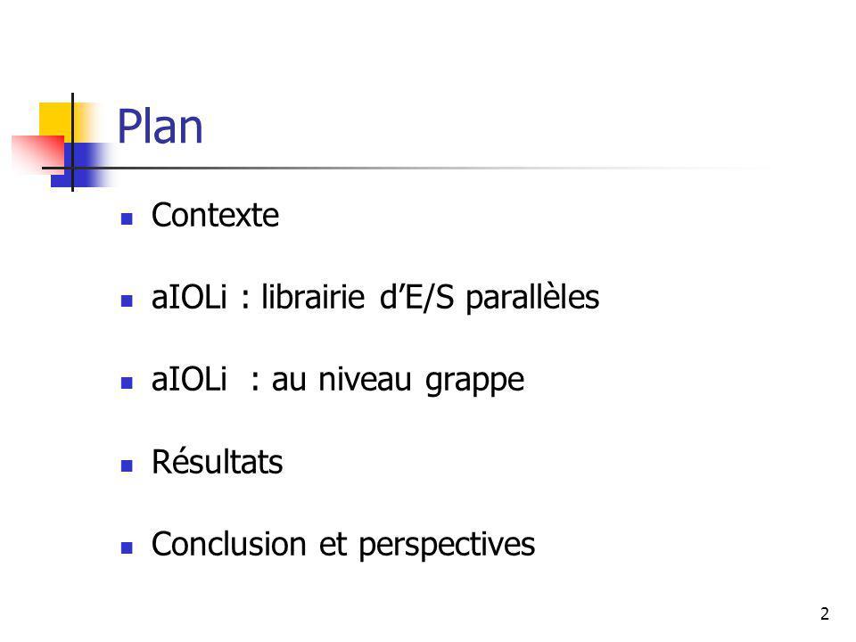 13 aIOLi : version existante Evaluation Décomposition dun fichier de 1Go par 1, 2, 4, 8 processus Recompilé avec aIOLi :+ de processus + de performance