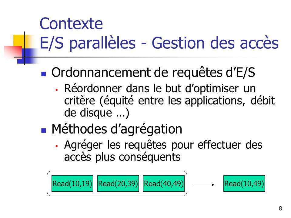 9 Contexte Systèmes existants Systèmes de fichiers parallèles Performants mais +/- complexes, +/- spécifiques (dépendant de larchitecture matérielle), +/- chers Librairies E/S spécialisées MPI I/O le standard ROMIO la plus déployé APIs sophistiqués (+/- lourde) Besoin de solution simple