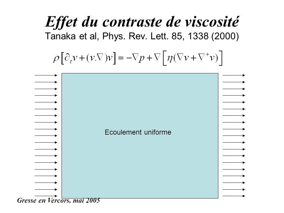 Effet du contraste de viscosité Tanaka et al, Phys. Rev. Lett. 85, 1338 (2000) Ecoulement uniforme Gresse en Vercors, mai 2005