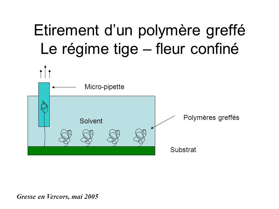 Solvent Etirement dun polymère greffé Le régime tige – fleur confiné Substrat Polymères greffés Micro-pipette Gresse en Vercors, mai 2005