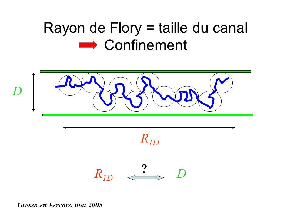 Rayon de Flory = taille du canal Confinement Gresse en Vercors, mai 2005 R 1D D D ?